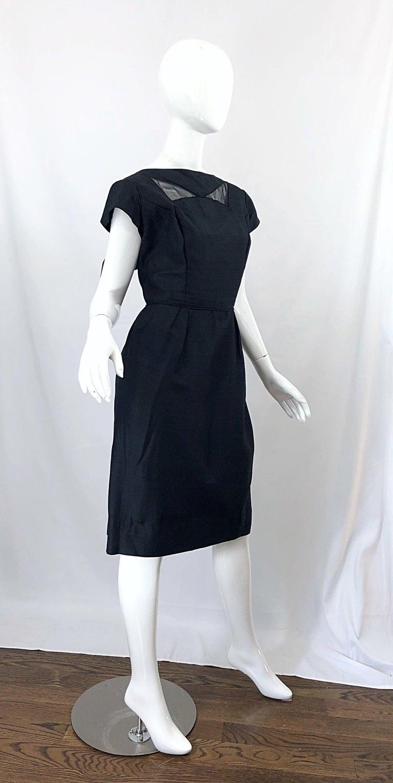 1950s Demi Couture Black Silk Cut - Out Chic Vintage 50s Cocktail Dress For Sale 8