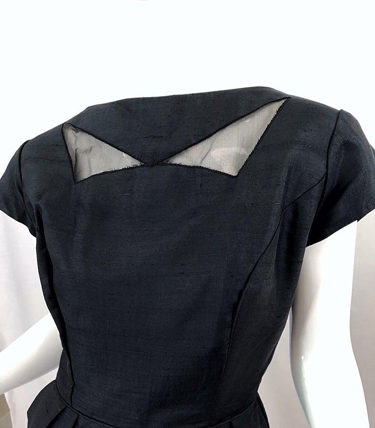 1950s Demi Couture Black Silk Cut - Out Chic Vintage 50s Cocktail Dress For Sale 9