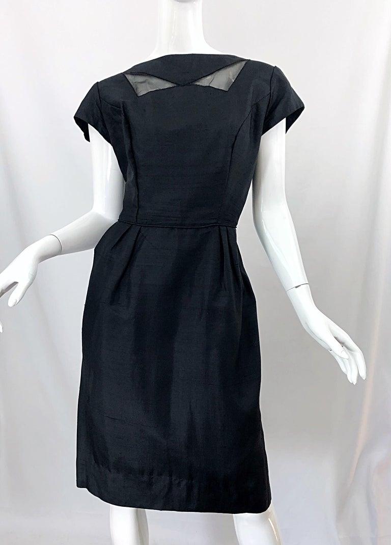 1950s Demi Couture Black Silk Cut - Out Chic Vintage 50s Cocktail Dress For Sale 10
