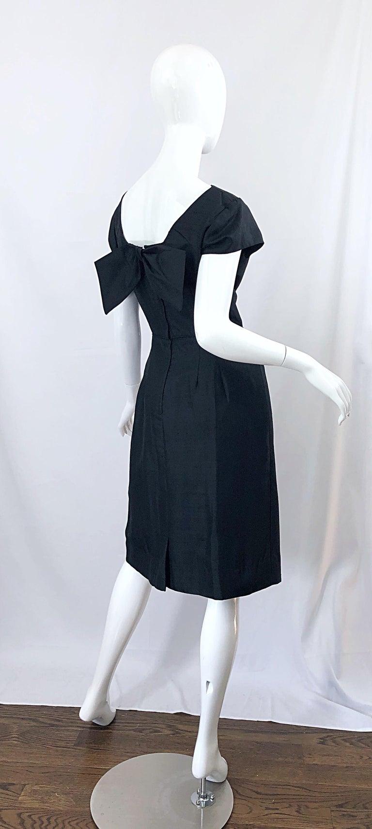 1950s Demi Couture Black Silk Cut - Out Chic Vintage 50s Cocktail Dress For Sale 11