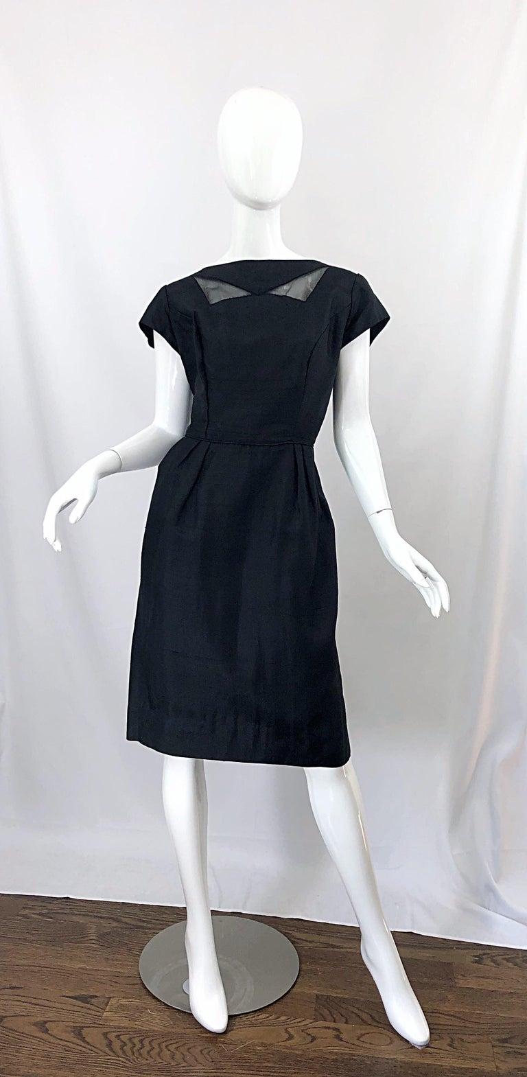 1950s Demi Couture Black Silk Cut - Out Chic Vintage 50s Cocktail Dress For Sale 12