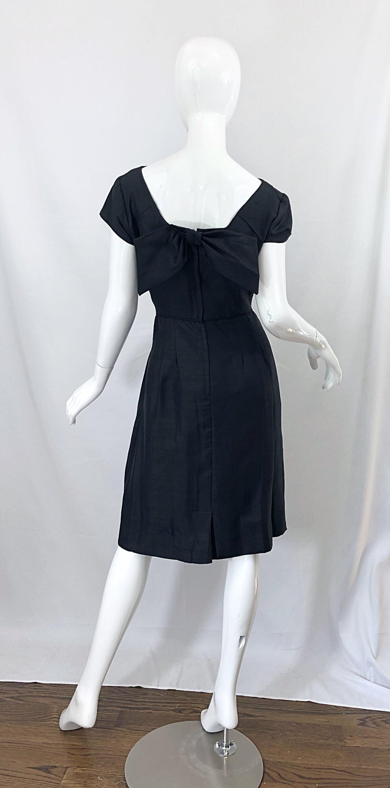 1950s Demi Couture Black Silk Cut - Out Chic Vintage 50s Cocktail Dress In Excellent Condition For Sale In Chicago, IL