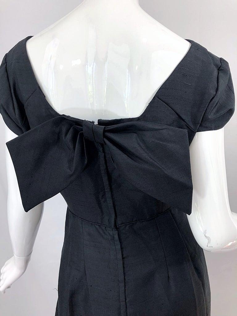 Women's 1950s Demi Couture Black Silk Cut - Out Chic Vintage 50s Cocktail Dress For Sale