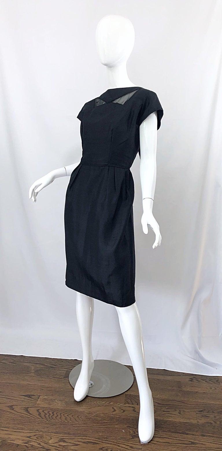 1950s Demi Couture Black Silk Cut - Out Chic Vintage 50s Cocktail Dress For Sale 2
