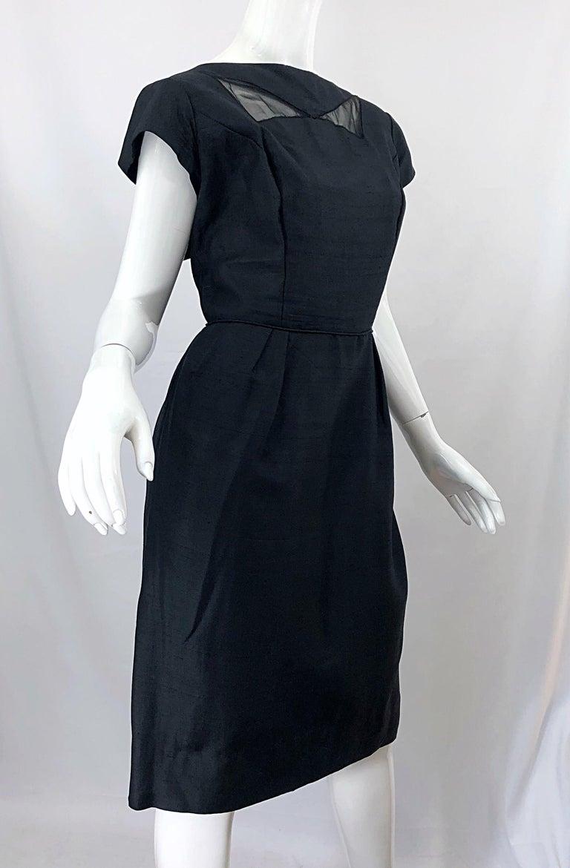 1950s Demi Couture Black Silk Cut - Out Chic Vintage 50s Cocktail Dress For Sale 3