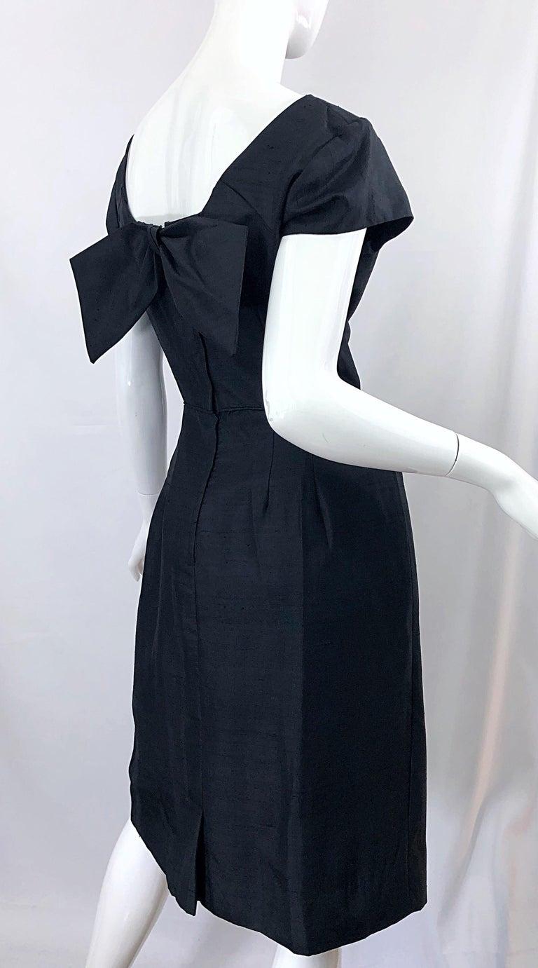 1950s Demi Couture Black Silk Cut - Out Chic Vintage 50s Cocktail Dress For Sale 4