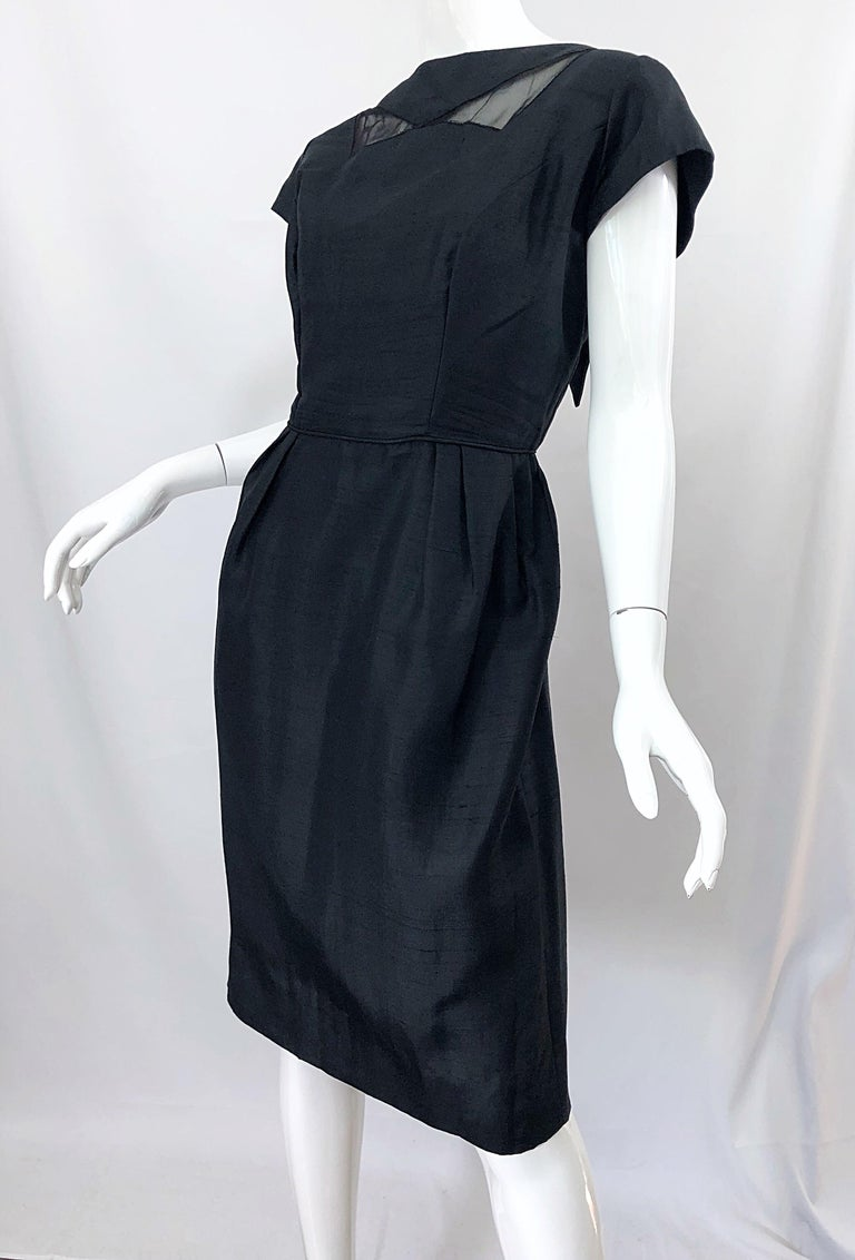 1950s Demi Couture Black Silk Cut - Out Chic Vintage 50s Cocktail Dress For Sale 5