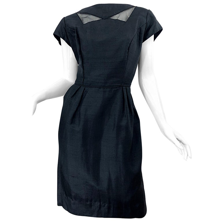 1950s Demi Couture Black Silk Cut - Out Chic Vintage 50s Cocktail Dress For Sale