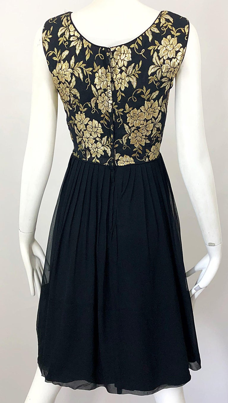 1950s Demi Couture Gold + Black Silk Brocade and Chiffon Vintage 50s Dress For Sale 6