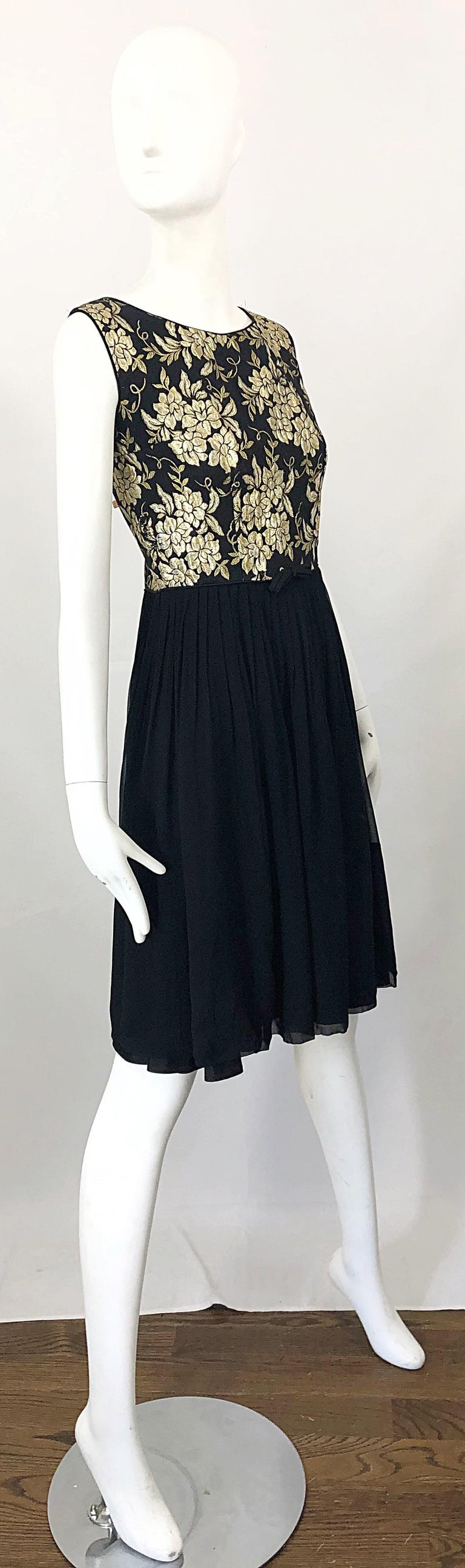 1950s Demi Couture Gold + Black Silk Brocade and Chiffon Vintage 50s Dress For Sale 7