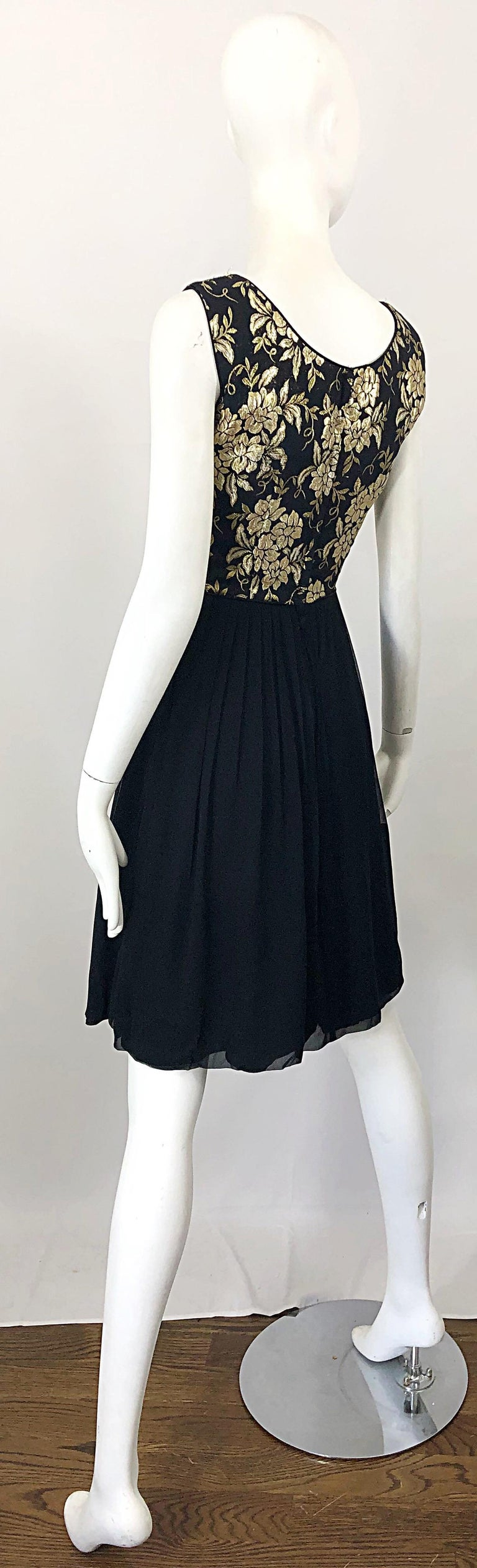 1950s Demi Couture Gold + Black Silk Brocade and Chiffon Vintage 50s Dress For Sale 8