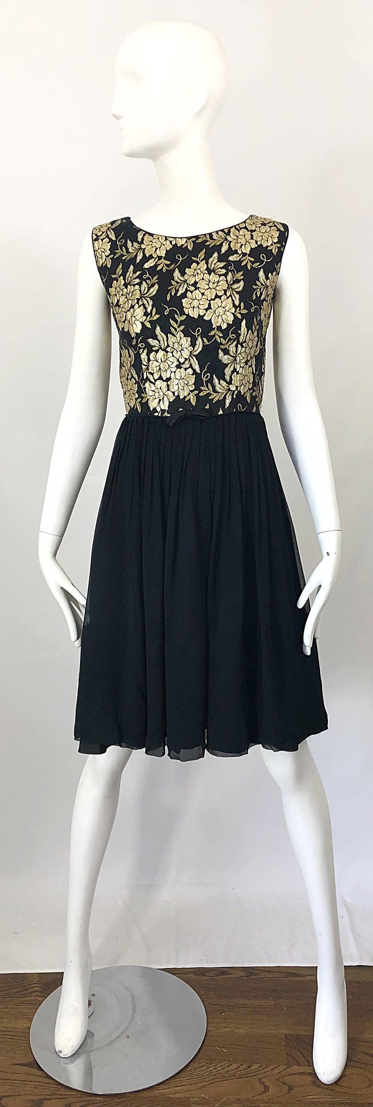 1950s Demi Couture Gold + Black Silk Brocade and Chiffon Vintage 50s Dress For Sale 9
