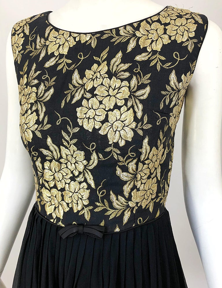 1950s Demi Couture Gold + Black Silk Brocade and Chiffon Vintage 50s Dress In Excellent Condition For Sale In Chicago, IL