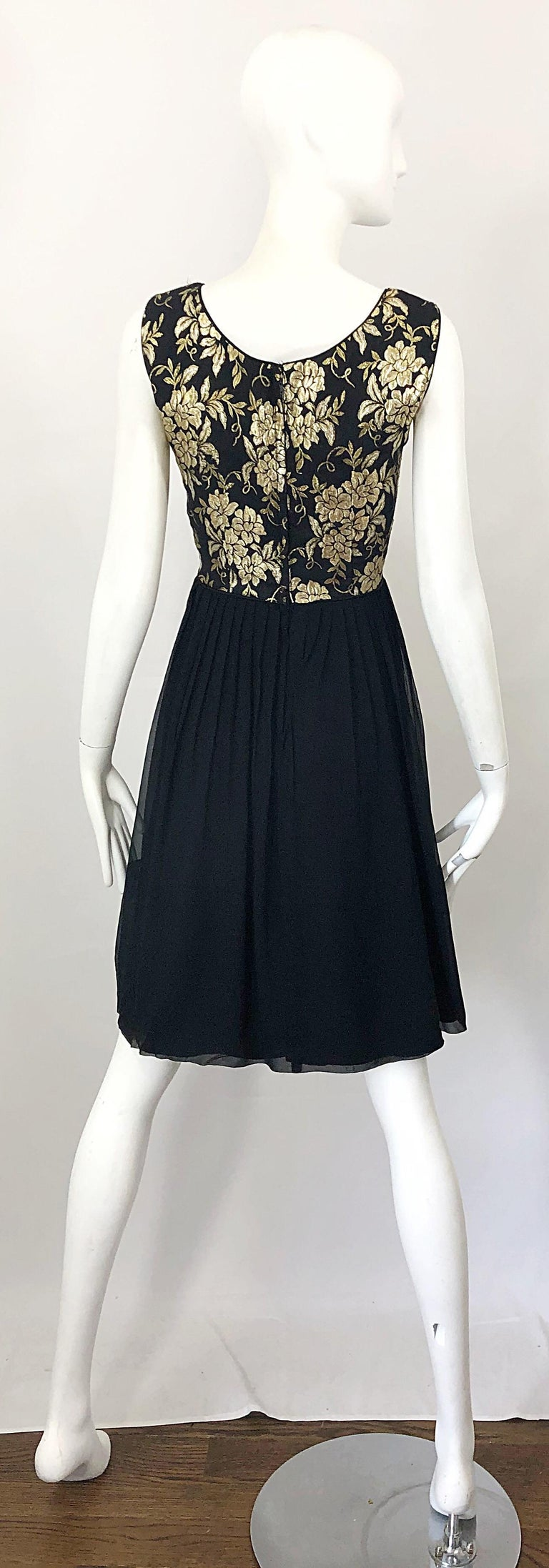 Women's 1950s Demi Couture Gold + Black Silk Brocade and Chiffon Vintage 50s Dress For Sale