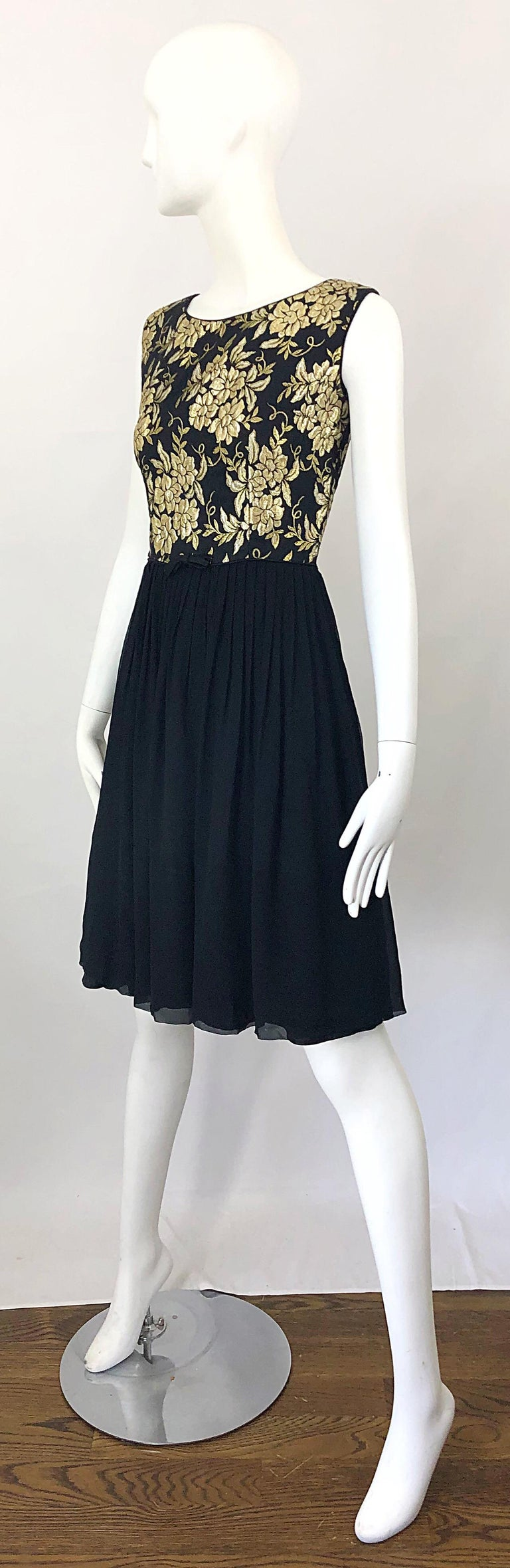1950s Demi Couture Gold + Black Silk Brocade and Chiffon Vintage 50s Dress For Sale 1