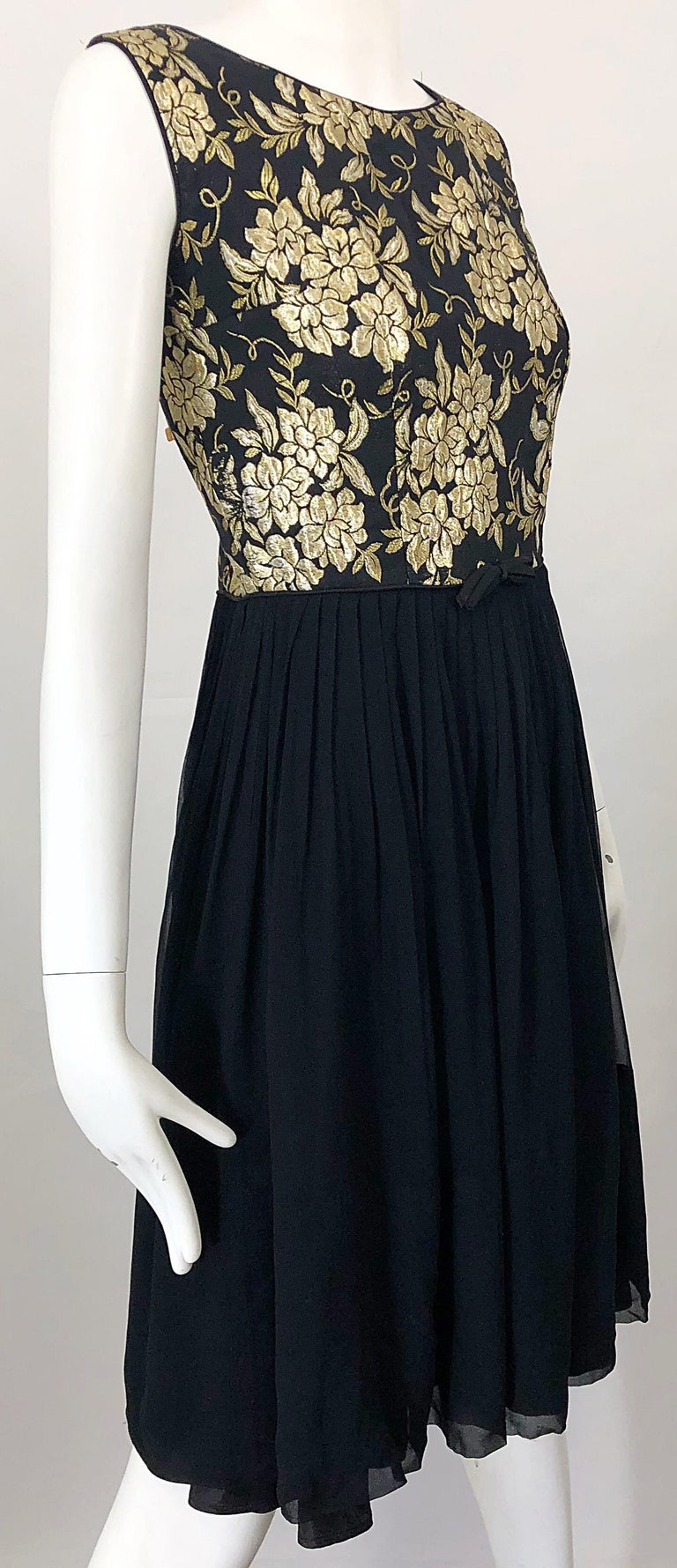 1950s Demi Couture Gold + Black Silk Brocade and Chiffon Vintage 50s Dress For Sale 2