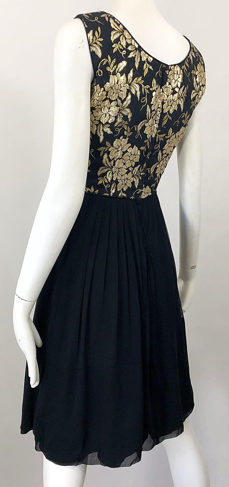 1950s Demi Couture Gold + Black Silk Brocade and Chiffon Vintage 50s Dress For Sale 3