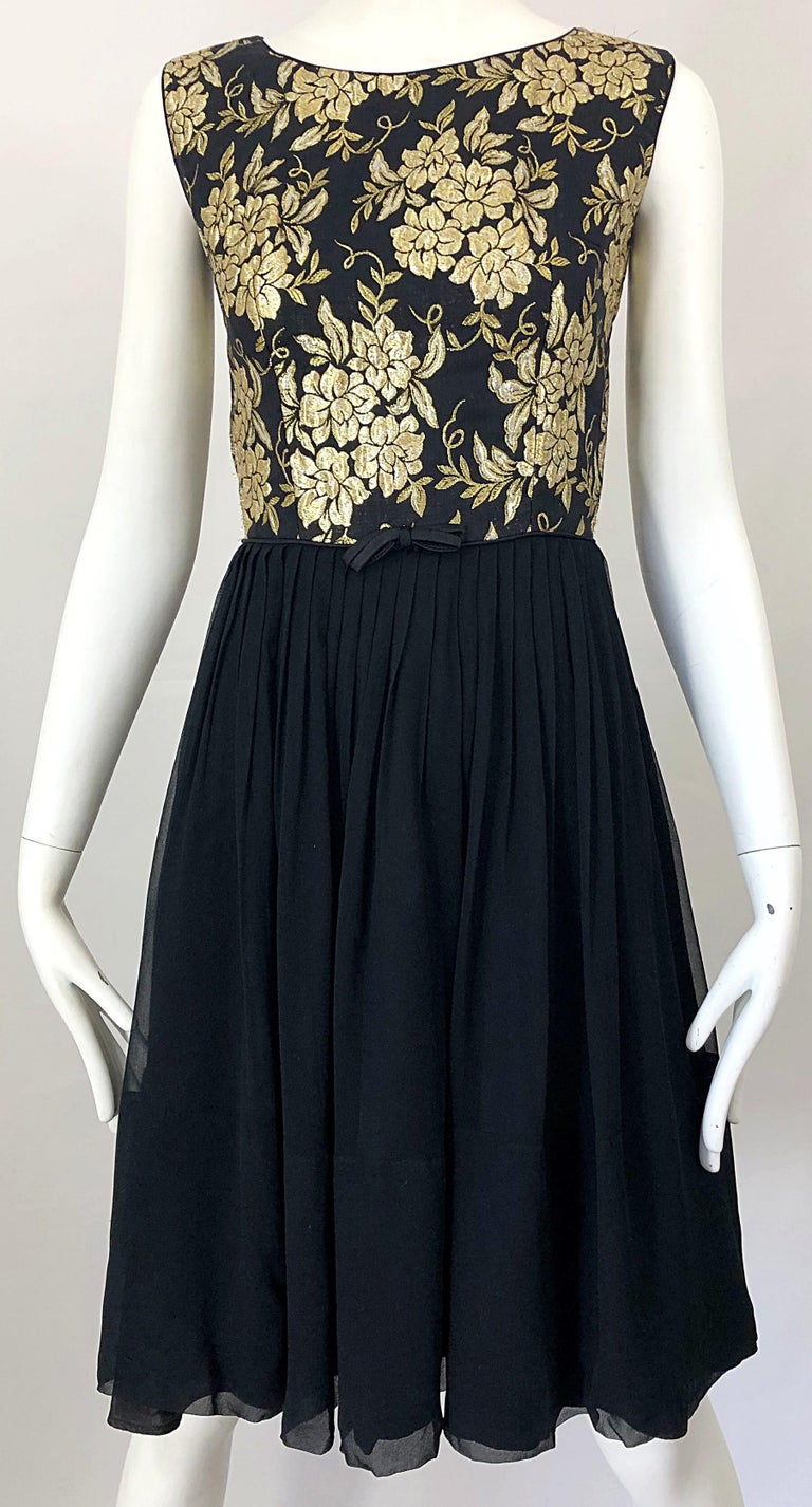 1950s Demi Couture Gold + Black Silk Brocade and Chiffon Vintage 50s Dress For Sale 4