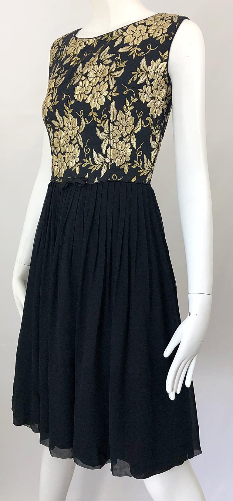 1950s Demi Couture Gold + Black Silk Brocade and Chiffon Vintage 50s Dress For Sale 5