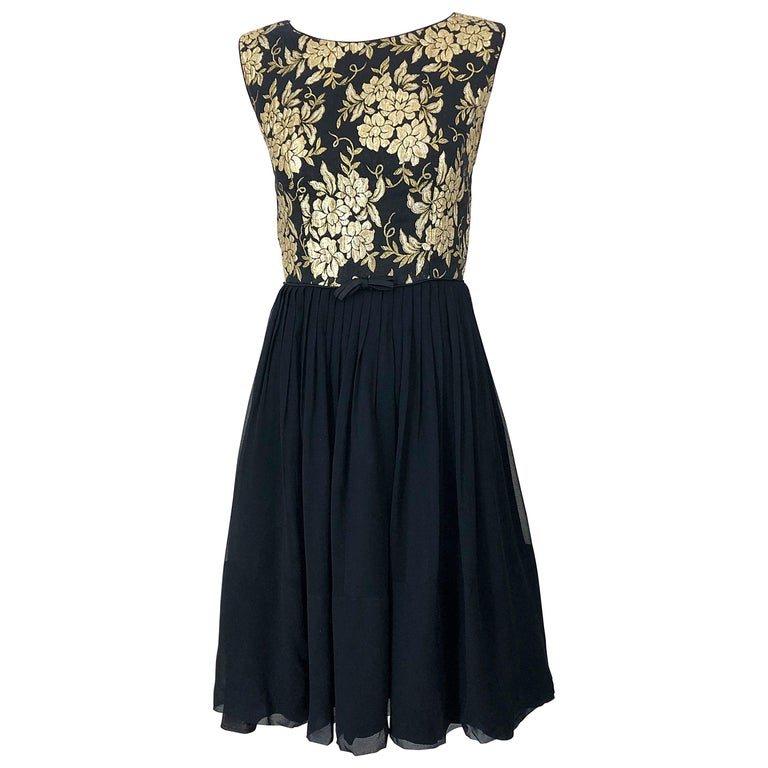 1950s Demi Couture Gold + Black Silk Brocade and Chiffon Vintage 50s Dress For Sale