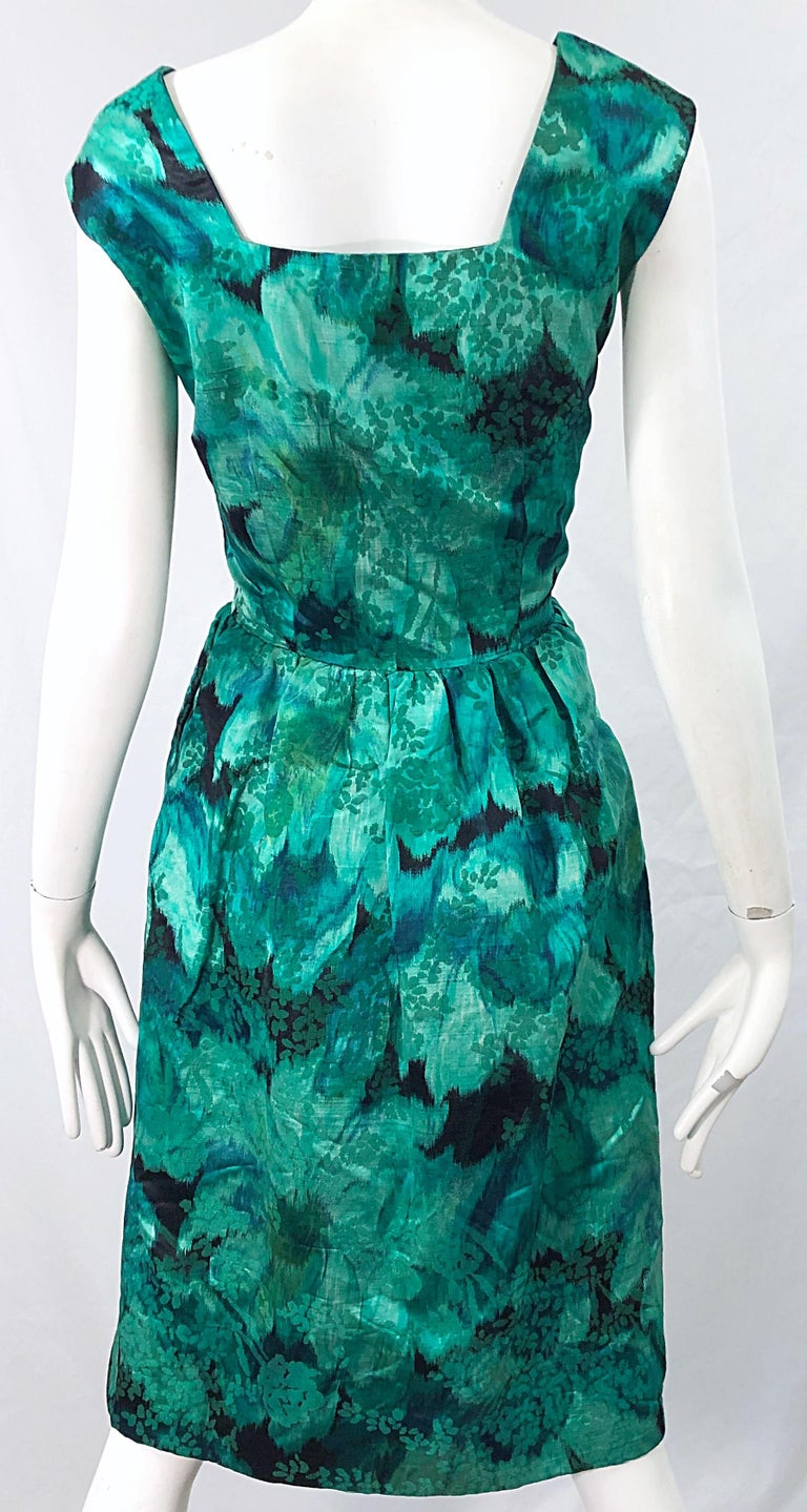 1950s Demi Couture Green Botanical Floral Silk Fit n' Flare Vintage 50s Dress For Sale 6