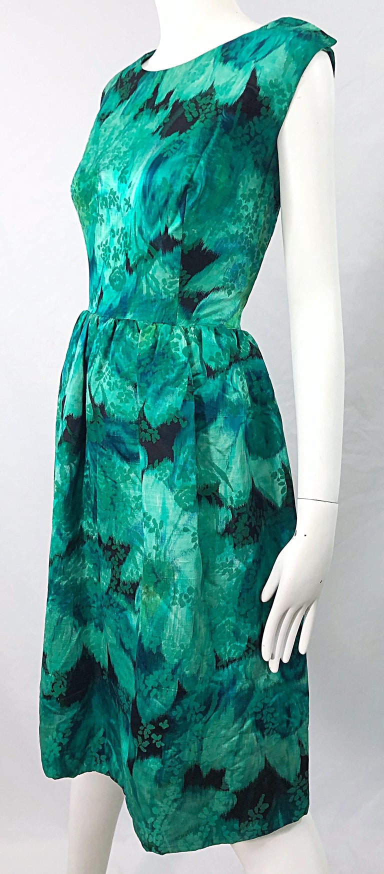 1950s Demi Couture Green Botanical Floral Silk Fit n' Flare Vintage 50s Dress For Sale 1