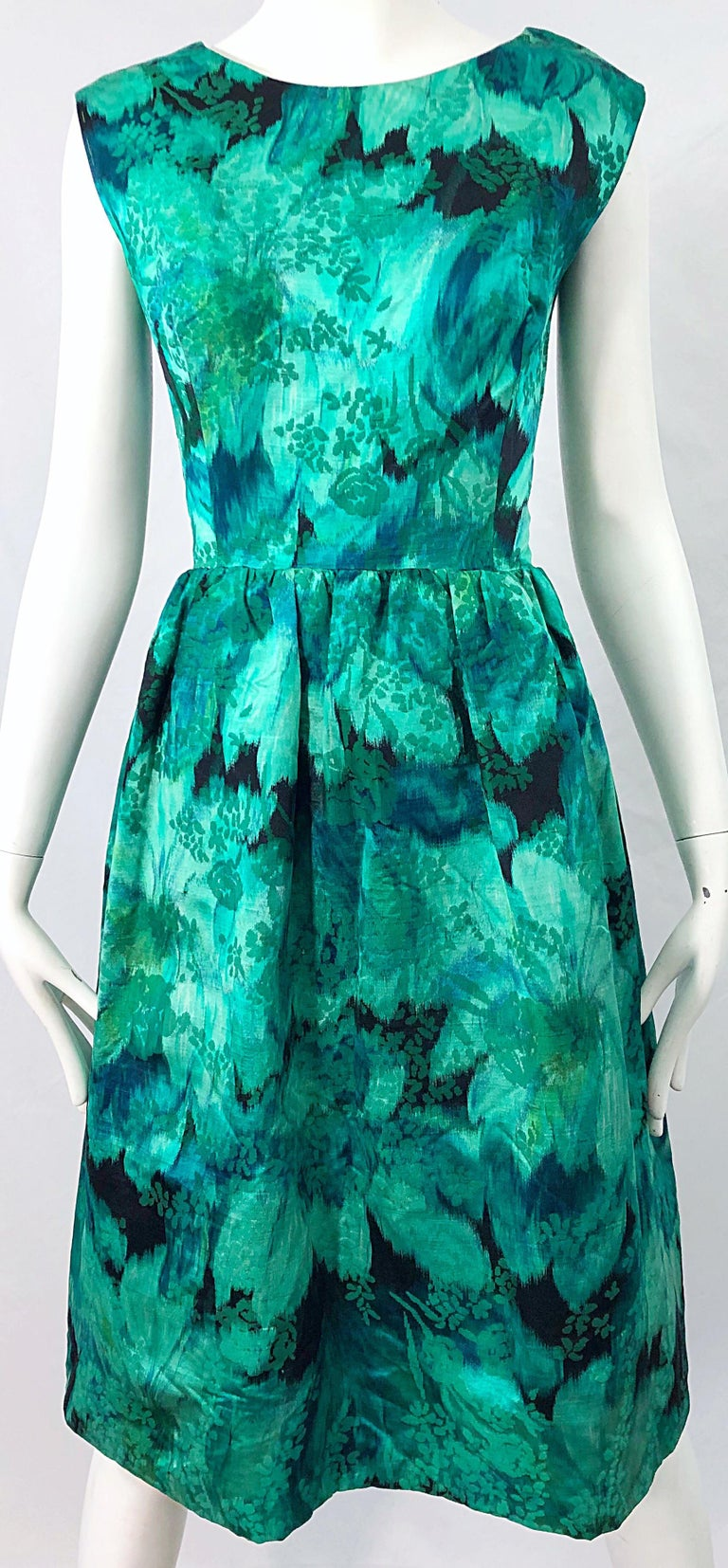 1950s Demi Couture Green Botanical Floral Silk Fit n' Flare Vintage 50s Dress For Sale 4