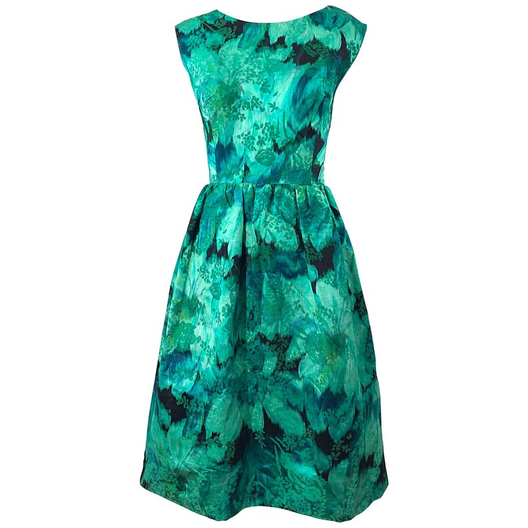 1950s Demi Couture Green Botanical Floral Silk Fit n' Flare Vintage 50s Dress For Sale