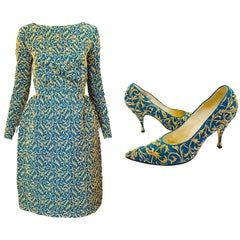 1950s Demi Couture Green Gold Silk Crepe Brocade Vintage 50s Train Dress Shoes