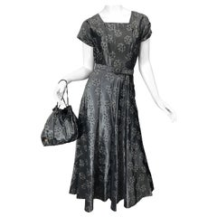 1950s Demi Couture Gunmetal Silver Grey Silk Taffeta Vintage Dress and Purse Bag