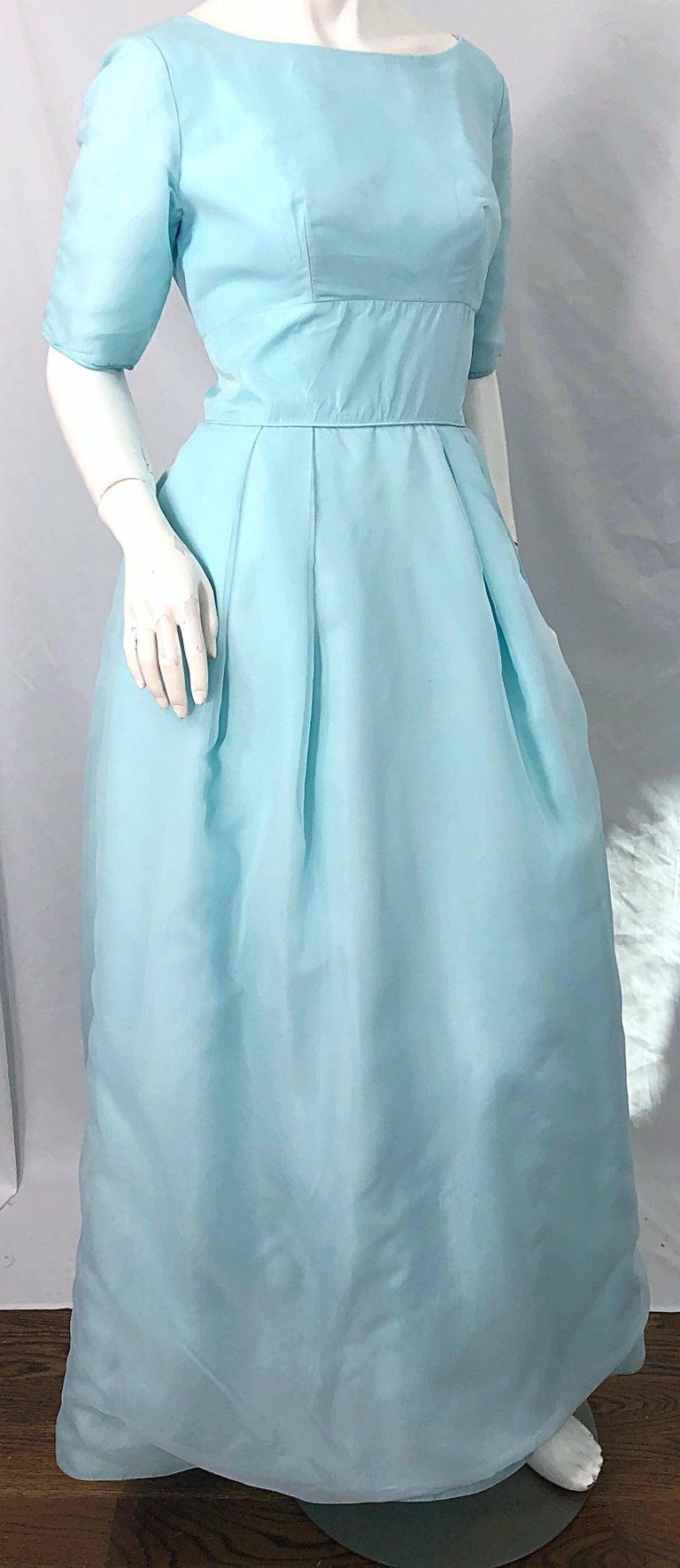 1950s Demi Couture Light Blue Cinderella Silk Chiffon Taffeta 3/4 Sleeves Gown For Sale 6