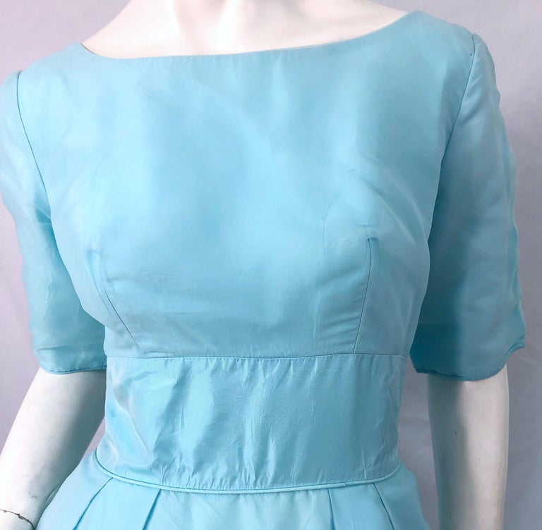 1950s Demi Couture Light Blue Cinderella Silk Chiffon Taffeta 3/4 Sleeves Gown In Excellent Condition For Sale In Chicago, IL