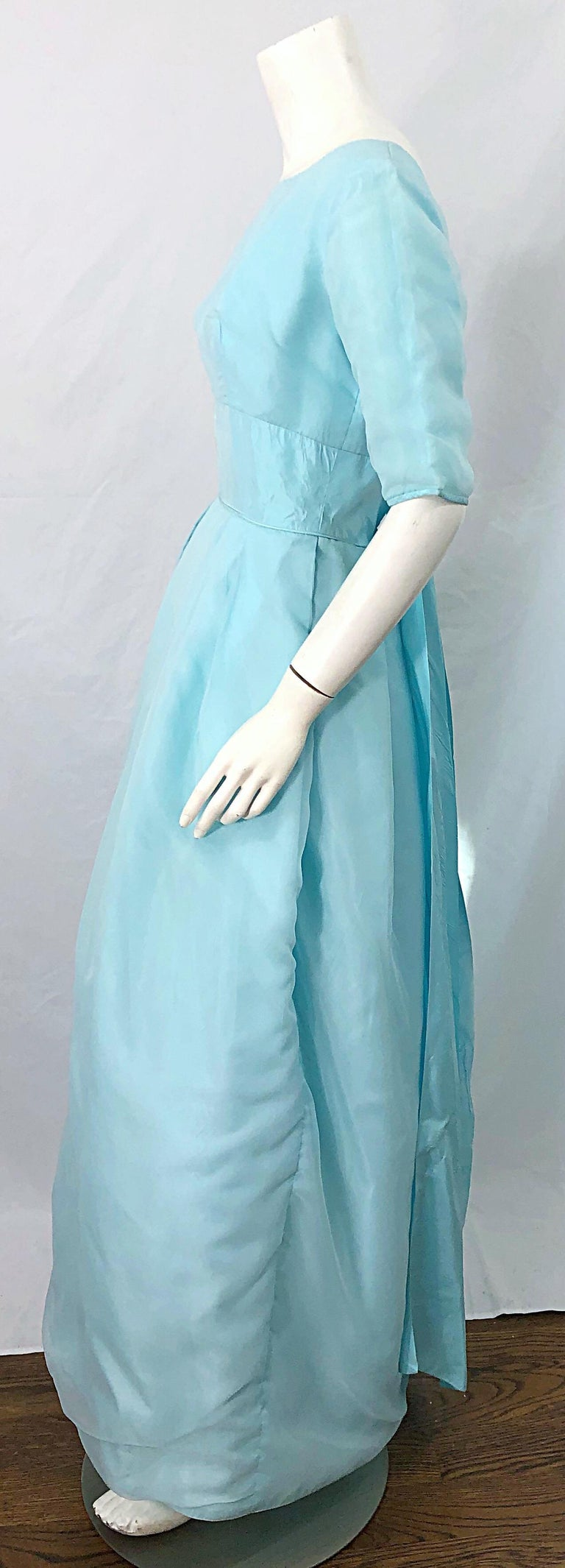 Women's 1950s Demi Couture Light Blue Cinderella Silk Chiffon Taffeta 3/4 Sleeves Gown For Sale
