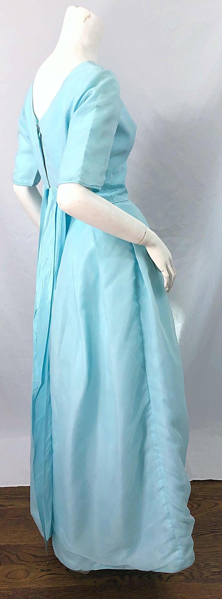 1950s Demi Couture Light Blue Cinderella Silk Chiffon Taffeta 3/4 Sleeves Gown For Sale 1