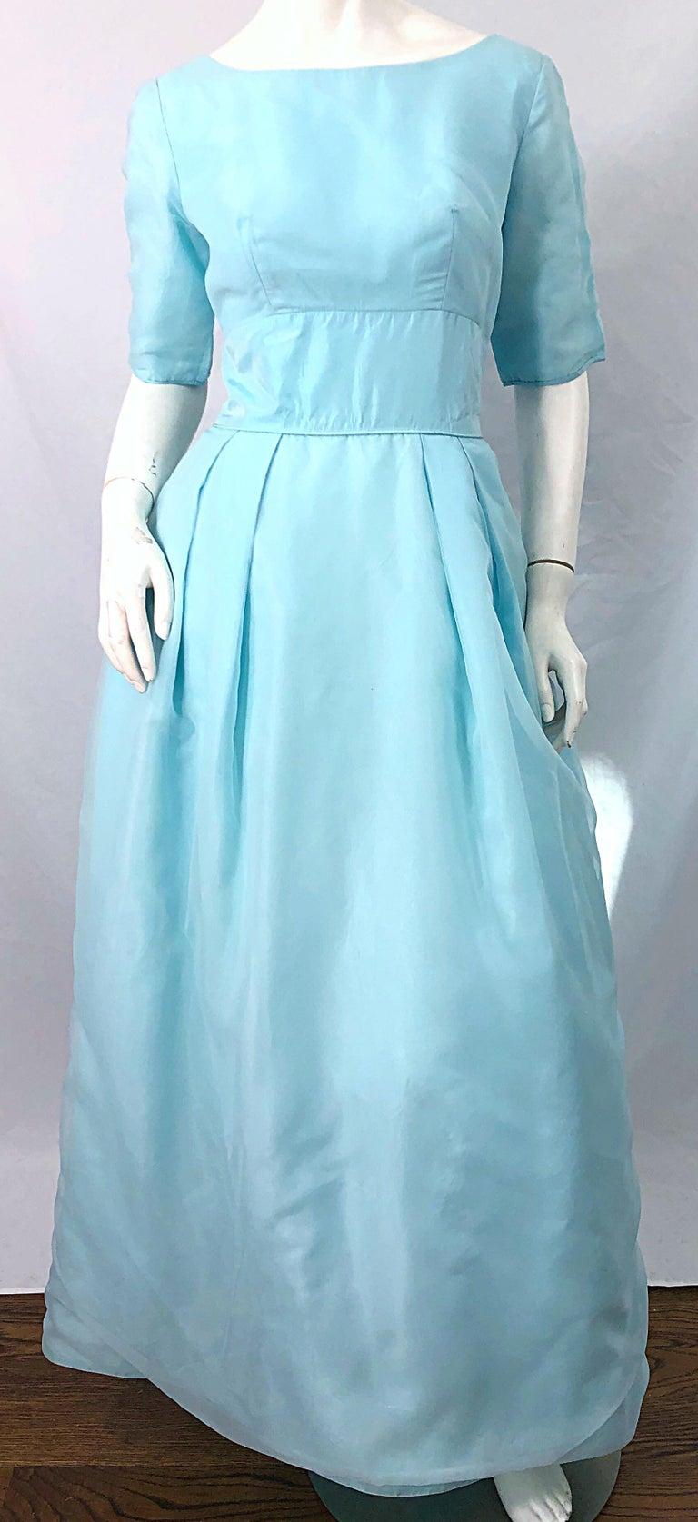 1950s Demi Couture Light Blue Cinderella Silk Chiffon Taffeta 3/4 Sleeves Gown For Sale 2