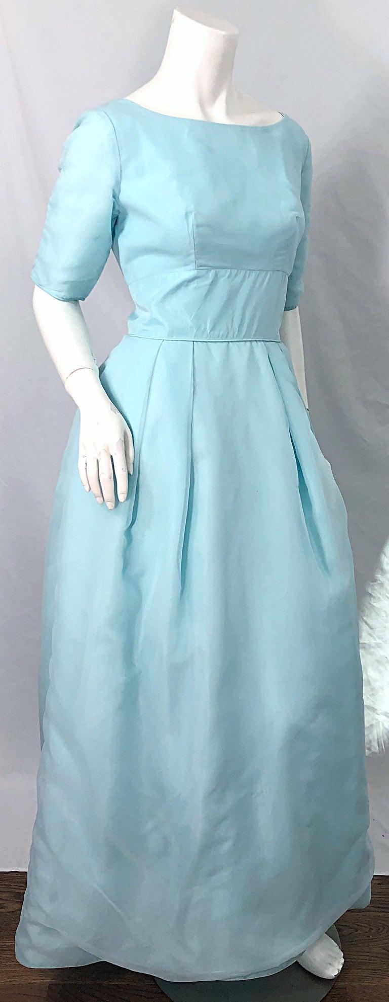 1950s Demi Couture Light Blue Cinderella Silk Chiffon Taffeta 3/4 Sleeves Gown For Sale 3