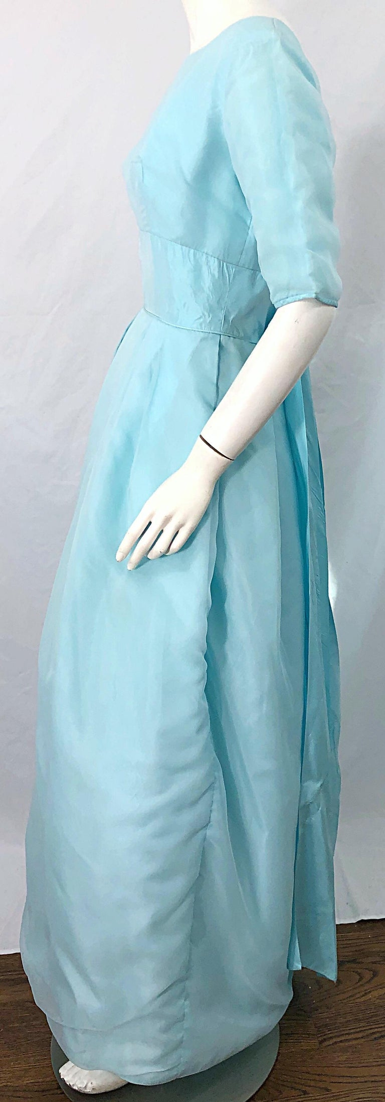 1950s Demi Couture Light Blue Cinderella Silk Chiffon Taffeta 3/4 Sleeves Gown For Sale 4