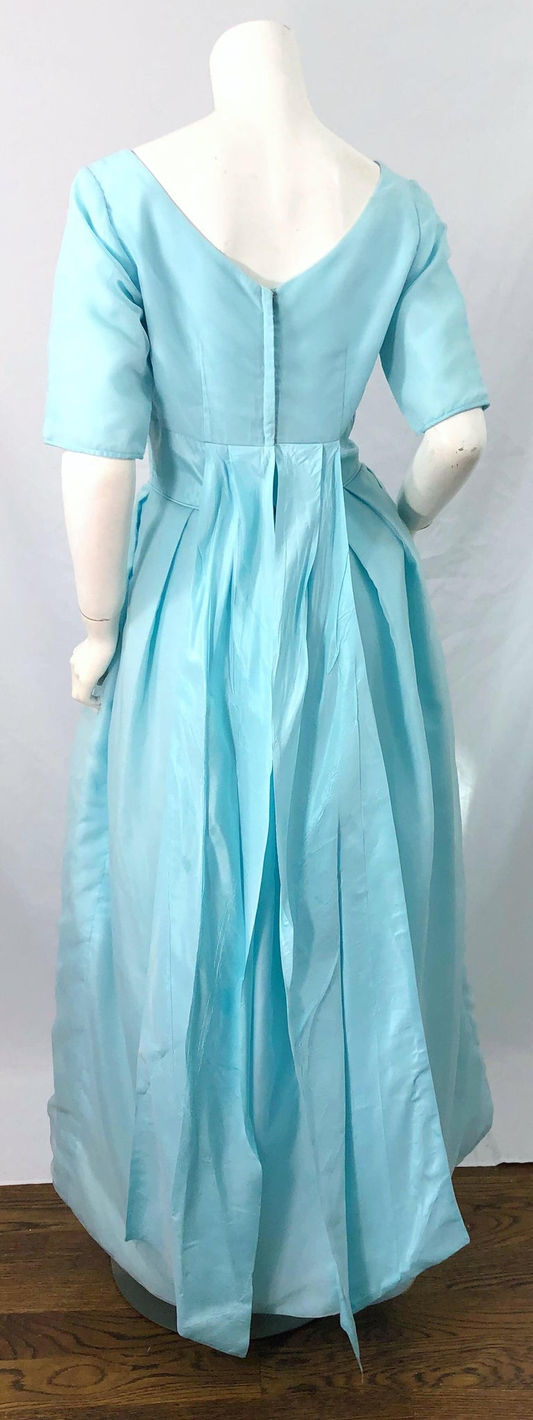 1950s Demi Couture Light Blue Cinderella Silk Chiffon Taffeta 3/4 Sleeves Gown For Sale 5