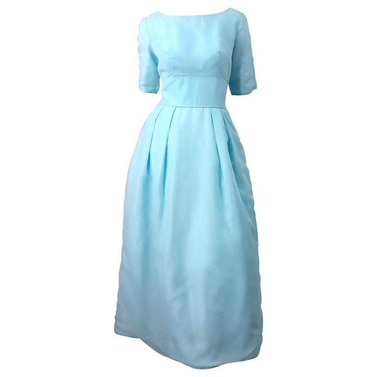 1950s Demi Couture Light Blue Cinderella Silk Chiffon Taffeta 3/4 Sleeves Gown For Sale