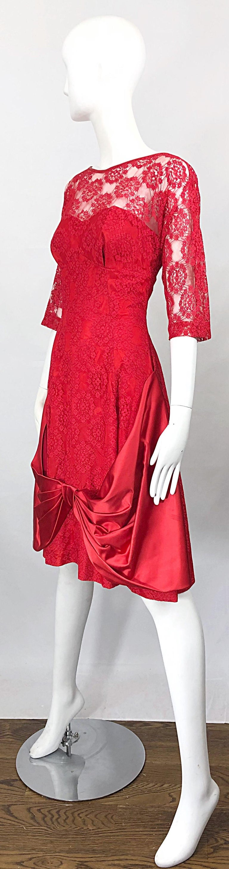 1950s Demi Couture Lips Stick Red Silk Lace 3/4 Sleeve Vintage 50s Dress For Sale 6