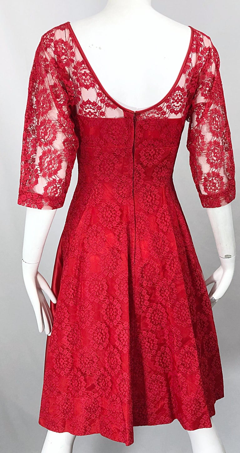 1950s Demi Couture Lips Stick Red Silk Lace 3/4 Sleeve Vintage 50s Dress For Sale 7