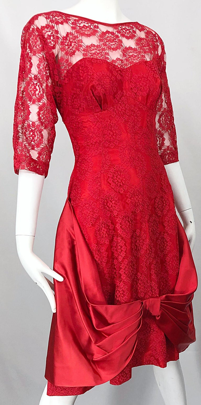 1950s Demi Couture Lips Stick Red Silk Lace 3/4 Sleeve Vintage 50s Dress For Sale 8