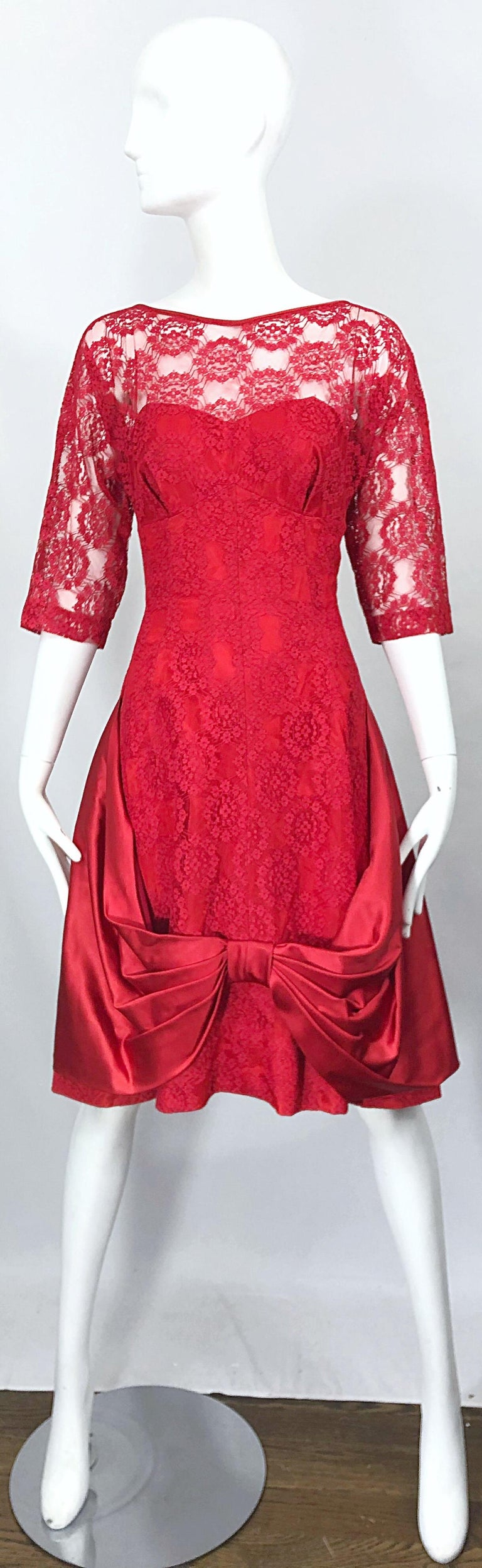 1950s Demi Couture Lips Stick Red Silk Lace 3/4 Sleeve Vintage 50s Dress For Sale 10