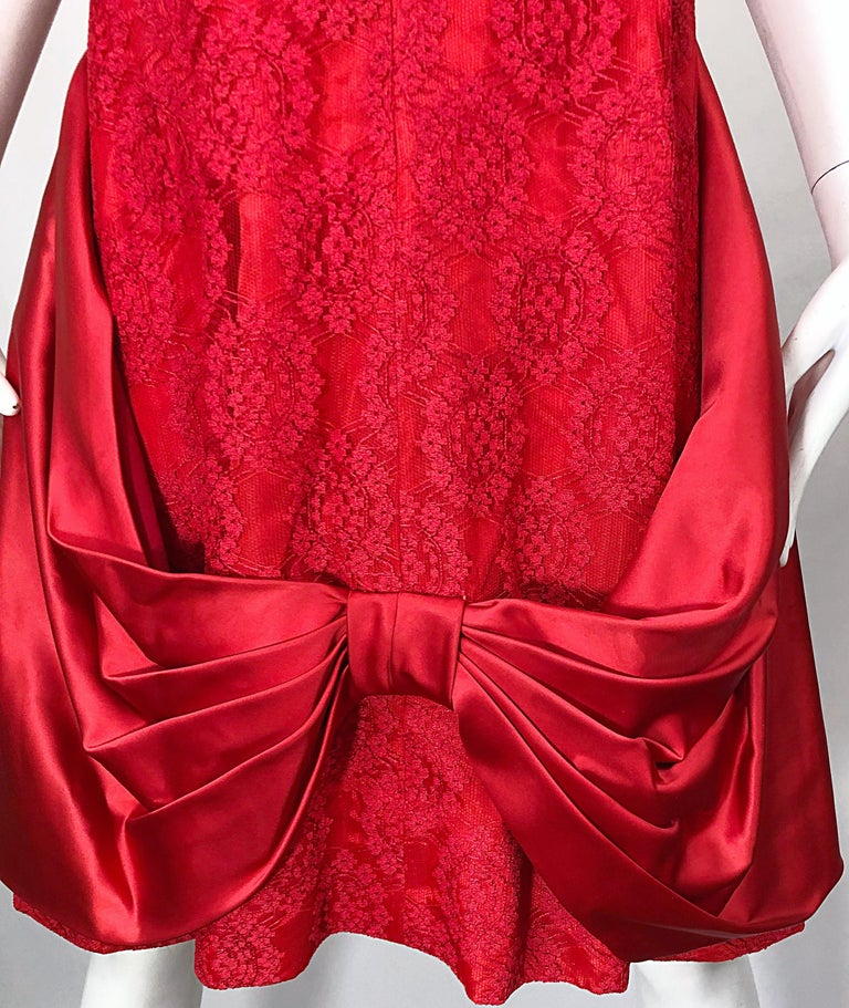 Women's 1950s Demi Couture Lips Stick Red Silk Lace 3/4 Sleeve Vintage 50s Dress For Sale
