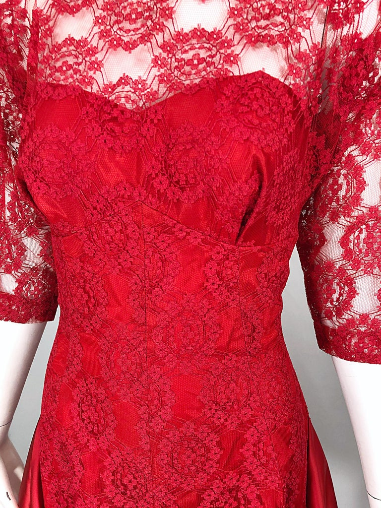 1950s Demi Couture Lips Stick Red Silk Lace 3/4 Sleeve Vintage 50s Dress For Sale 4