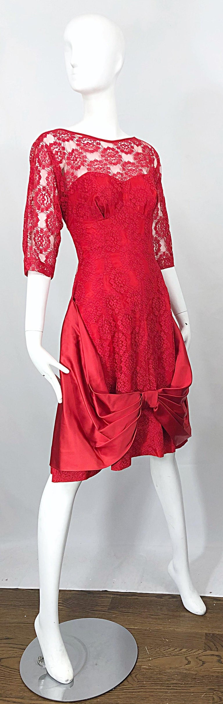 1950s Demi Couture Lips Stick Red Silk Lace 3/4 Sleeve Vintage 50s Dress For Sale 5
