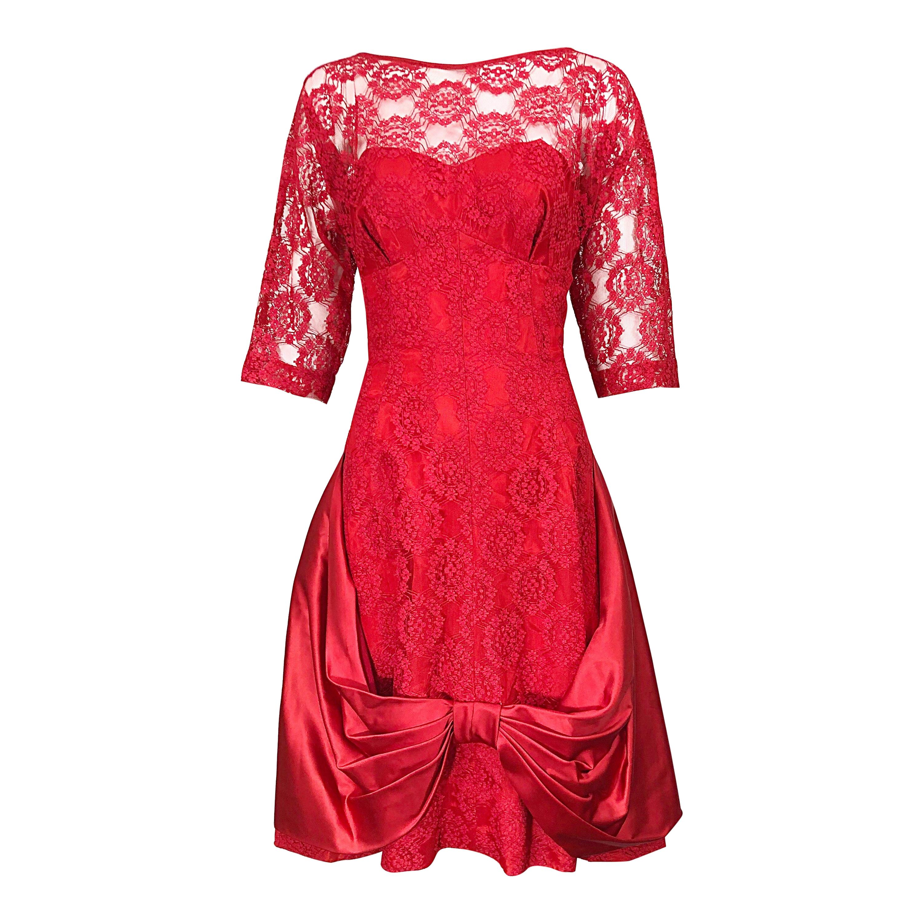 1950s Demi Couture Lips Stick Red Silk Lace 3/4 Sleeve Vintage 50s Dress