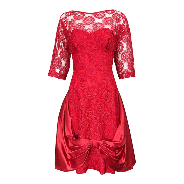 1950s Demi Couture Lips Stick Red Silk Lace 3/4 Sleeve Vintage 50s Dress For Sale