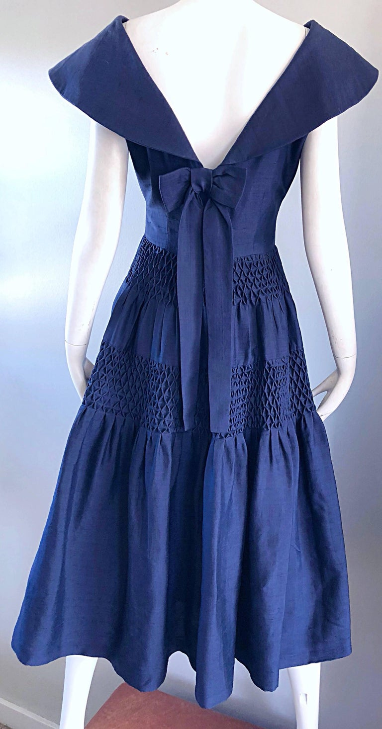 1950s Demi Couture Navy Blue Silk Shantung Vintage 50s Nautical Dress For Sale 6