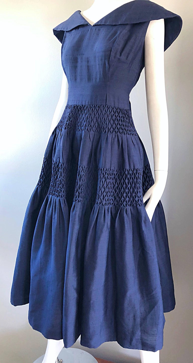 1950s Demi Couture Navy Blue Silk Shantung Vintage 50s Nautical Dress For Sale 7